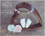 3D Abdruck Fußabdruck Blumen Gipsfabrik Herz Holz Leni 3D Abdruck Füßchen der Gipsfabrik Fulda