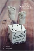 3D Abdruck Fußabdruck Handabdruck Gipsabdruck Baby Gipsfabrik Sockel Lenny Babyhändchen, Babyfüßchen 3D