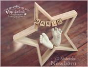3D Abdruck Fußabdruck Stern Marie Gipsfabrik