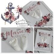 3D Abdruck Fußabdruck Handabdruck Gipsabdruck Baby Gipsfabrik Anker Marie Christine Blumen