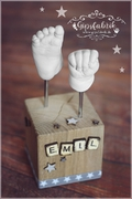 3D Abdruck Fußabdruck Handabdruck Gipsabdruck Baby Gipsfabrik Sockel Emil